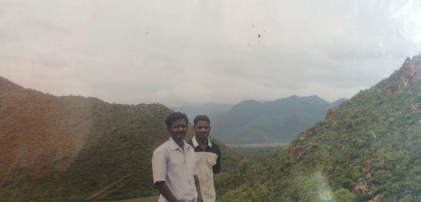 Siva and his friend on a stroll in the hills, Pappireddipatti