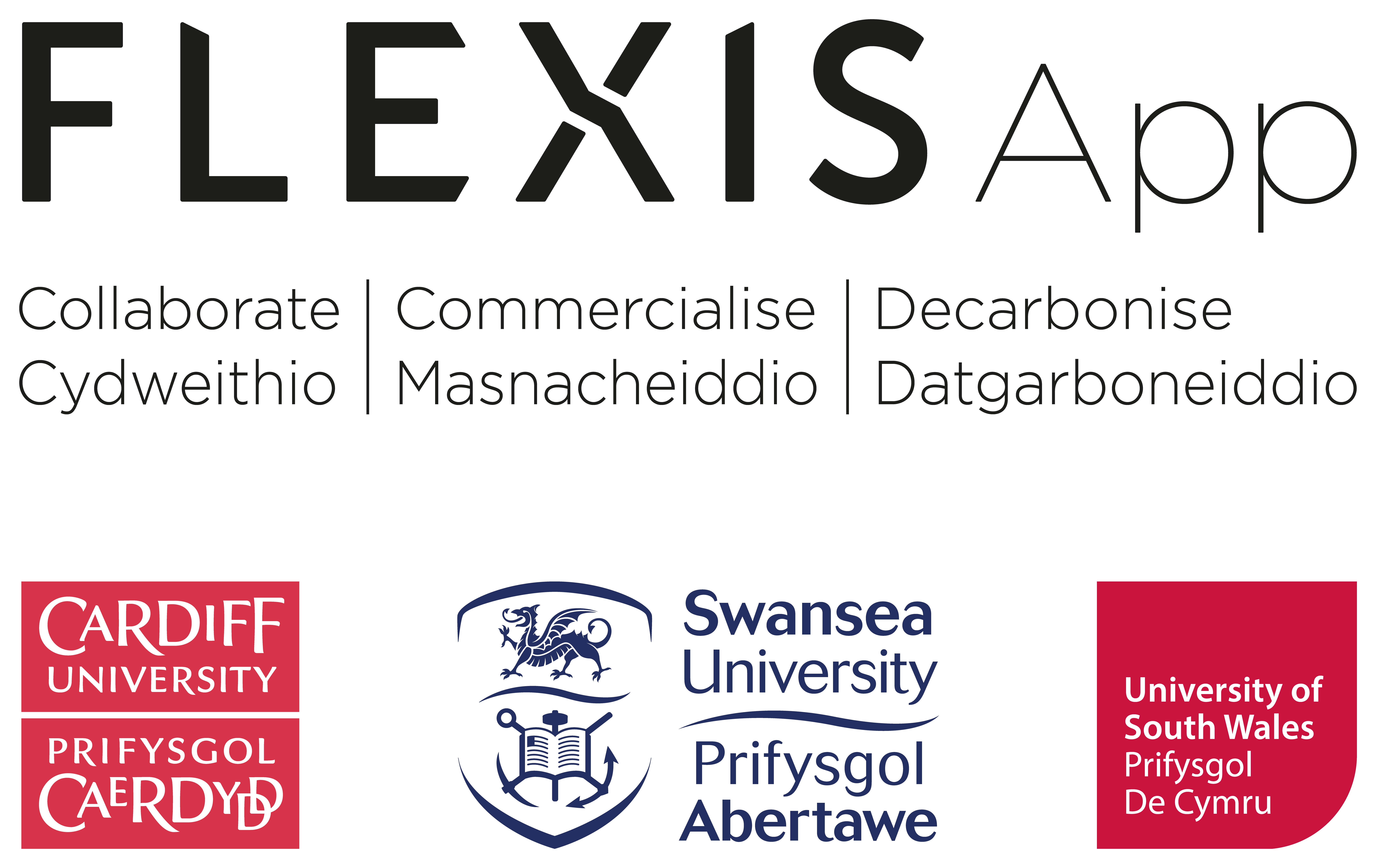 FLEXISApp project logo with partnership universities Cardiff, Swansea and University of South Wales
